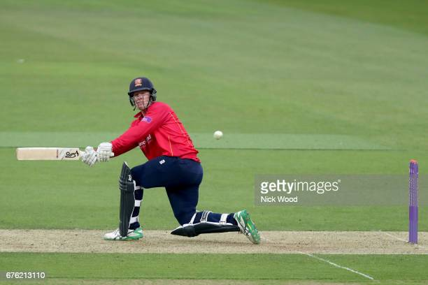 Simon Harmer of Essex hits the winning runs during the Surrey v Essex Royal London OneDay Cup at the Kia Oval Cricket Ground on May 2 2017 in London...