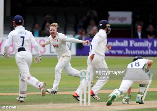 Simon Harmer of Essex wheels away in delight during the Specsavers County Championship Division One match between Essex and Middlesex at the Cloudfm...