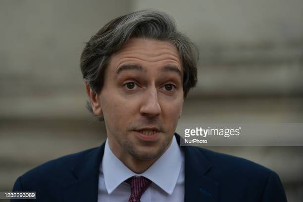 Simon Harris, Minister for Further and Higher Education, Research, Innovation and Science, speaks to media at his arrival at Government Buildings in...