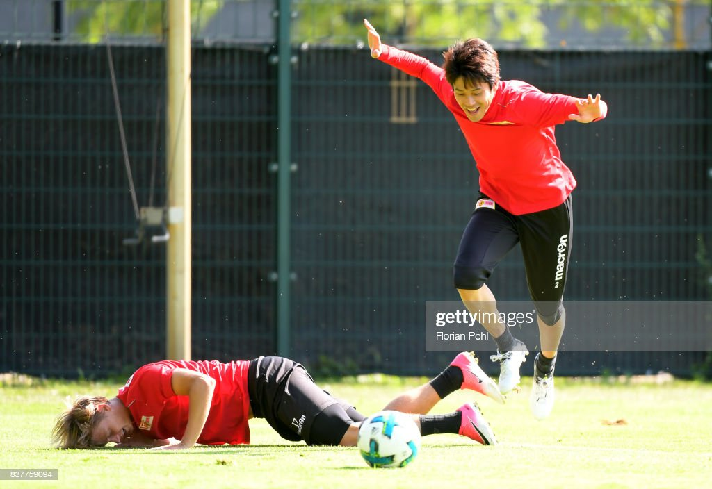 Simon Hedlund and Atsuto Uchida of 1.FC Union Berlin during the Trainnigs on august 23, 2017 in Berlin, Germany.