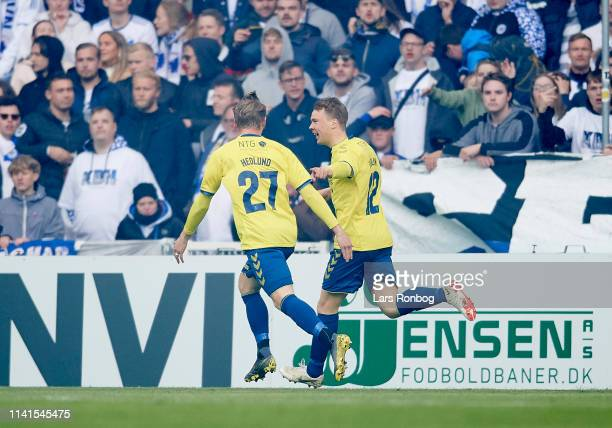 Simon Hedlund and Simon Tibbling of Brondby IF celebrate after scoring their first goal during the Danish Superliga match between FC Copenhagen and...