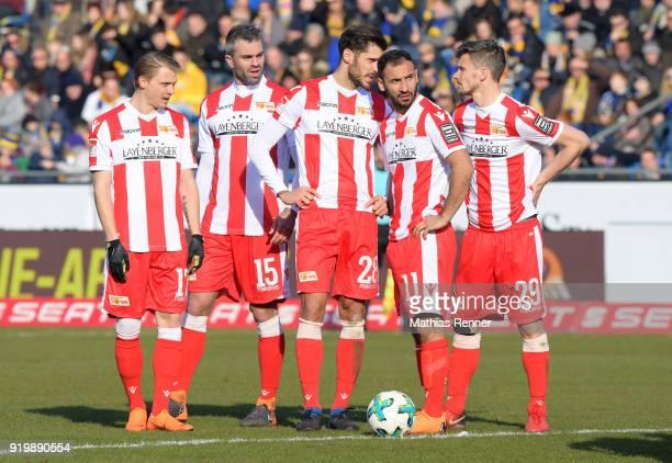 Simon Hedlund Marc Torrejon Christopher Trimmel Akaki Gogia and Michael Parensen of 1 FC Union Berlin during the second Bundesliga match between...