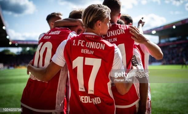 Simon Hedlund of 1 FC Union Berlin celebrates after scoring the 3:0 during the 2nd Bundesliga match between Union Berlin and FC St Pauli at Stadion...