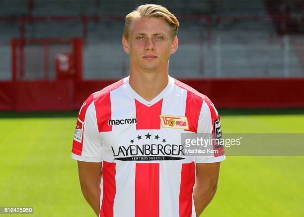 Simon Hedlund of 1 FC Union Berlin poses during the team presentation at Stadion an der Alten Foersterei on July 17 2017 in Berlin Germany