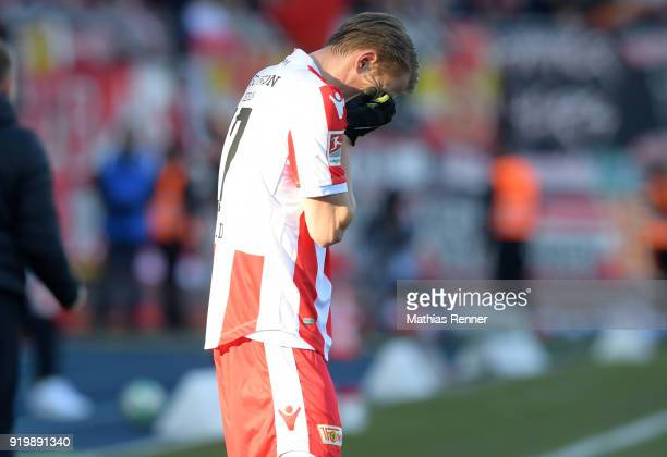 Simon Hedlund of 1 FC Union Berlin reacts after the second Bundesliga match between Eintracht Braunschweig and Union Berlin on February 18 2018 at...