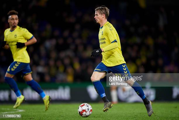 Simon Hedlund of Brondby IF controls the ball during the Danish Superliga match between Brondby IF and AaB Aalborg at Brondby Stadion on March 10...