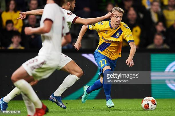 Simon Hedlund of Brondby IF in action during the UEFA Europa League match between Brondby IF and AC Sparta Praha at Brondby Stadion on September 16,...