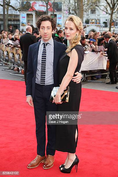 Simon Helberg and Jocelyn Towne arrive for the UK film premiere of Florence Foster Jenkins at Odeon Leicester Square on April 12 2016 in London...