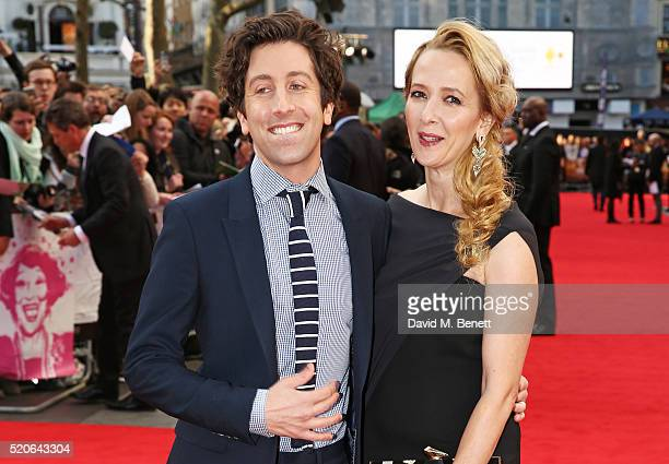 """Simon Helberg and wife Jocelyn Towne arrive for the UK film premiere Of """"Florence Foster Jenkins"""" at Odeon Leicester Square on April 12, 2016 in..."""