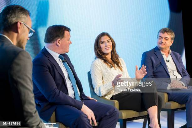 Simon Hill Damian Collins Hope Solo and Jerome Champagne take part in a panel discussion as The Foundation For Sports Integrity hold their inaugural...