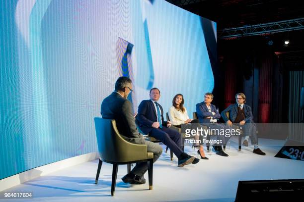 Simon Hill Damian Collins Hope Solo Jerome Champagne and Jaimie Fuller take part in a panel discussion as The Foundation For Sports Integrity hold...