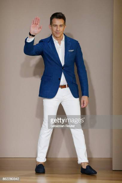 Simon Holloway ackowledges the applause of the audience at the Agnona show during Milan Fashion Week Spring/Summer 2018 on September 23 2017 in Milan...