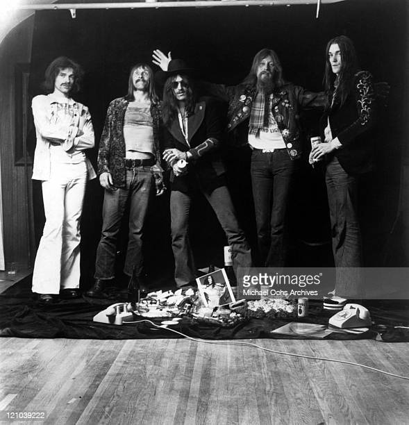 Simon House Dave Brock Lemmy Kilmister Nik Turner and Simon King of the space rock group Hawkwind pose for a portrait in circa 1974