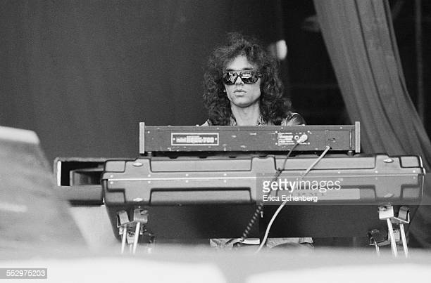 Simon House of Hawkwind performs on stage Reading Festival Reading United Kingdom 28th August 1977