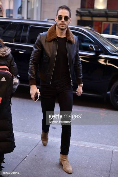 Simon Huck is seen wearing a leather shearling jacket outside the Christian Siriano show during New York Fashion Week Autumn Winter 2019 on February...
