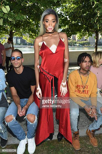 Simon Huck Model Winnie Harlow and Vic Mensa attend the Kanye West Yeezy Season 4 fashion show on September 7 2016 in New York City