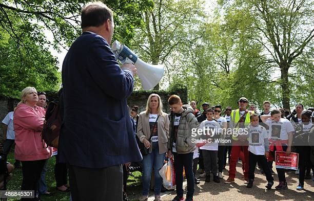 Simon Hughes MP addresses supporters of singer Jade Jones as they prepare to march through East London on April 26 2014 in London England They are...