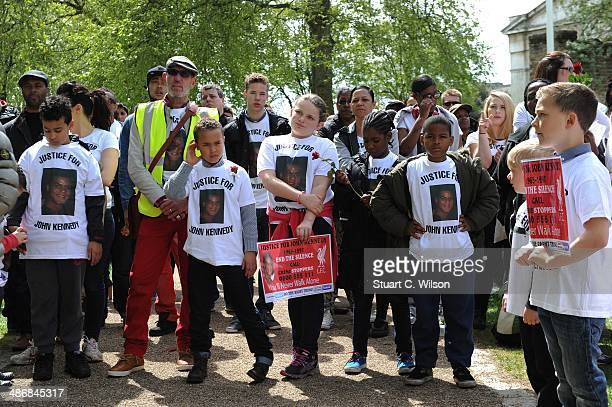 Simon Hughes MP addresses supporters of singer Jade Jones as they prepare to march through East London on April 26 2014 in London England to appeal...