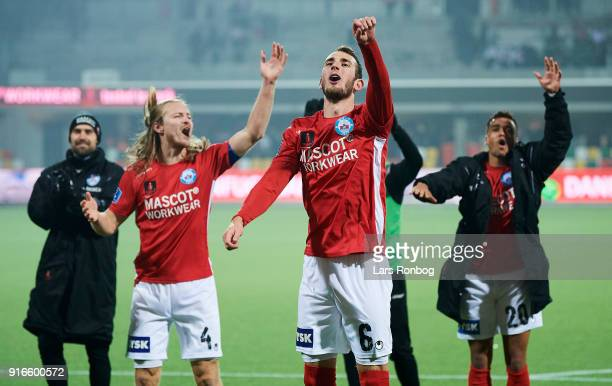 Simon Jakobsen and Jens Martin Gammelby of Silkeborg IF celebrate after the Danish Alka Superliga match between Silkeborg IF and AaB Aalborg at Jysk...