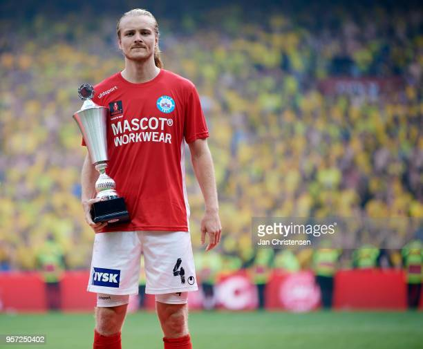 Simon Jakobsen of Silkeborg IF is a disappointed man of the match after the Danish Cup Final DBU Pokalen match between Brondby IF and Silkeborg IF at...