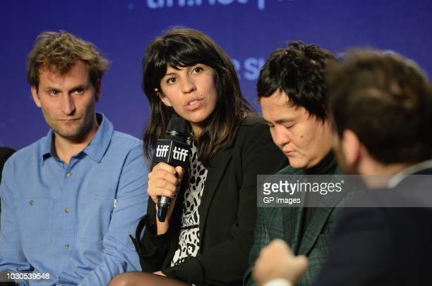 Simon Jaquemet Alejandra Márquez Abella Emir Baigazin attend the 'Platform on Cinema Now' press conference during 2018 Toronto International Film...
