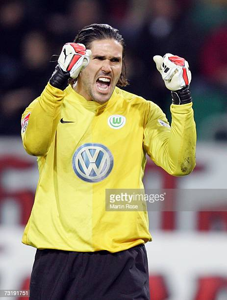 Simon Jentzsch goalkeeper of Wolfsburg celebrates after the Bundesliga match between VFL Wolfsburg and Bayer Leverkusen at the Volkswagen Arena on...
