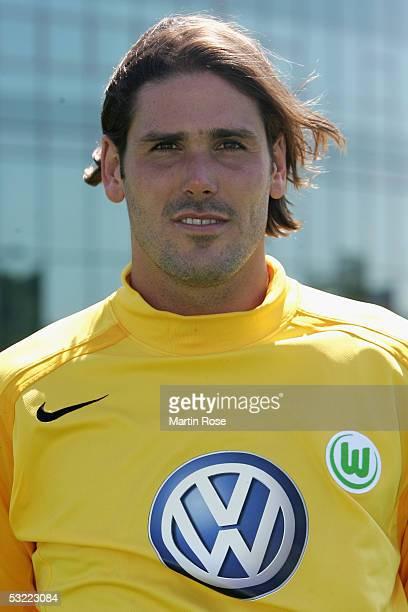 Simon Jentzsch poses during the team presentation of VFL Wolfsburg for the Bundesliga Season 2005 2006 on July 10 2005 in Wolfsburg Germany