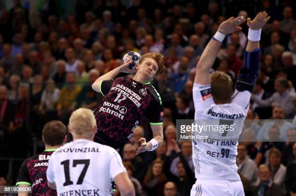 Simon Jeppsson of Flensburg Handewitt in action during the Velux EHF Champions League match between SG Flensburg Handewitt and THW Kiel at FlensArena...