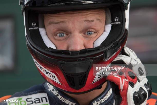 Simon Jespersen of Denmark prepares to start in pit during the MotoGP of San Marino Free Practice at Misano World Circuit on September 7 2018 in...