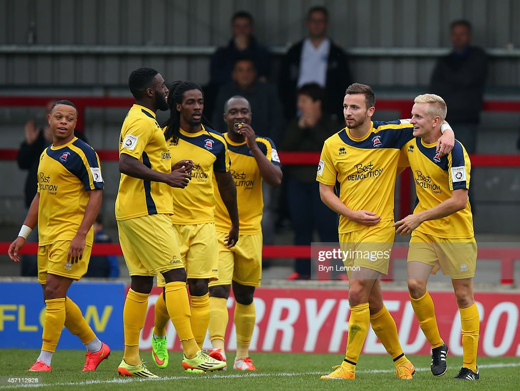 Simon Johnson (r) of Eastbourne Borough celebrates scoring during the FA Cup Qualifying Third Round match between Kingstonian and Eastbourne Borough at The Cherry Red Records Stadium on October 12, 2014 in Kingston upon Thames, England.
