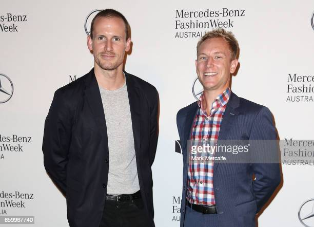 Simon Johnson of MercedesBenz poses with Dion Lee during the MercedesBenz Fashion Week Australia 2017 Schedule Launch at Ovolo Hotel on March 29 2017...