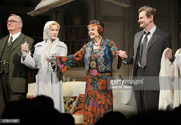 Simon Jones Janie Dee Dame Angela Lansbury and Charles Edwards bow at the curtain call during the press night performance of Blithe Spirit at the...