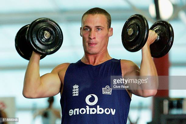 Simon Jones of England watches his reflection as he lifts weights in the gym during a training session ahead of the second Test Match between South...