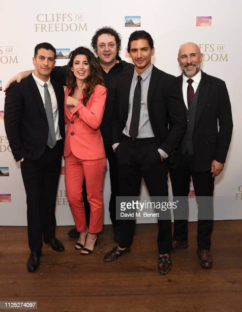Simon Kassianides Tania Raymonde Ivan Kaye Jan Uddinand Carlo Rota attend a preview screening of upcoming feature film 'Cliffs of Freedom' at The Ham...