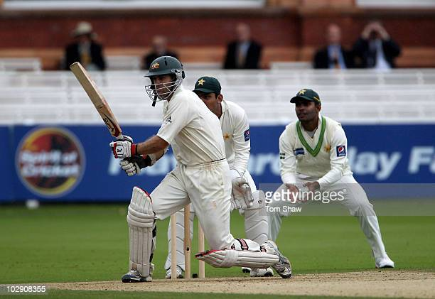 Simon Katich of Australia hits out during day three of the First Test match between Pakistan and Australia at Lords on July 15 2010 in London England