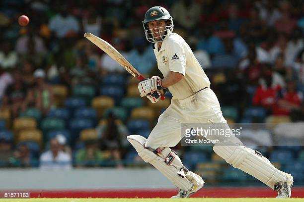 Simon Katich of Australia hits out during day three of the third test match between the West Indies and Australia at Kensington Oval on June 14, 2008...