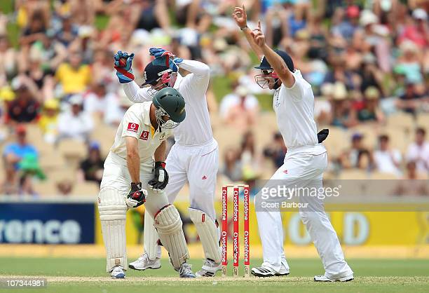 Simon Katich of Australia is out caught by Matt Prior of England during day four of the Second Ashes Test match between Australia and England at...