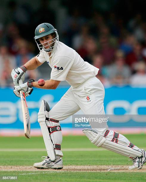 Simon Katich of Australia plays a shot to the offside during day four of the Fourth npower Ashes Test match between England and Australia at Trent...