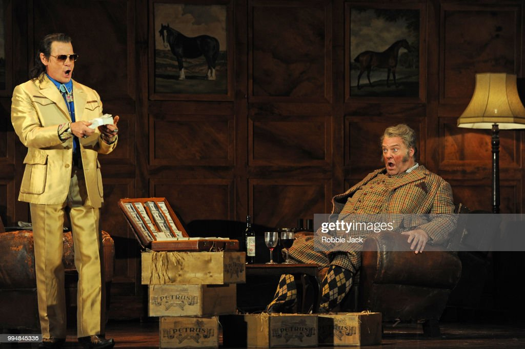 Simon Keenlyside as Ford and Bryn Terfel as Sir John Falstaff in the Royal Opera's production of Giuseppe Verdi's Falstaff directed by Robert Carsen and conducted by Nicola Luisotti at the Royal Opera House on July 4, 2018 in London, England.