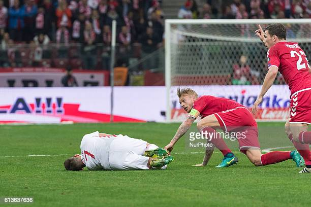 Simon Kjaer Arkadiusz Milik during the 2018 FIFA World Cup qualification match between Poland and Denmark national football teams at National Stadium...