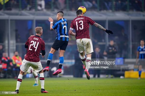 Simon Kjaer of AC Milan Alexis Sanchez of FC Internazionale Milano Alessio Romagnoli of AC Milan during the Italian Serie A match between...