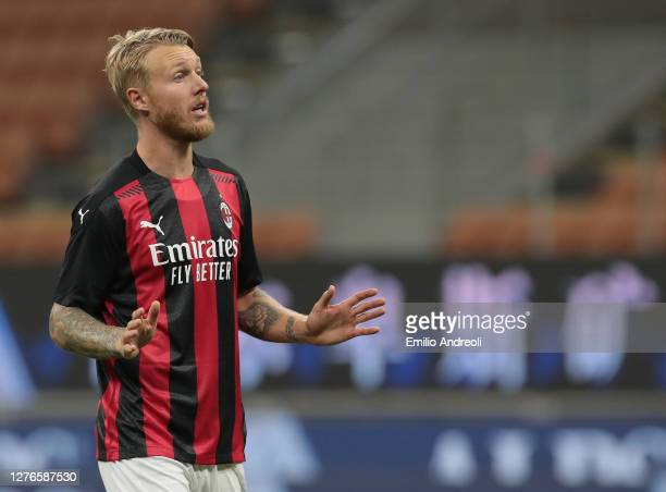 Simon Kjaer of AC Milan gestures during the UEFA Europa League third qualifying round match between AC Milan and Bodo Glimt at Stadio Giuseppe Meazza...