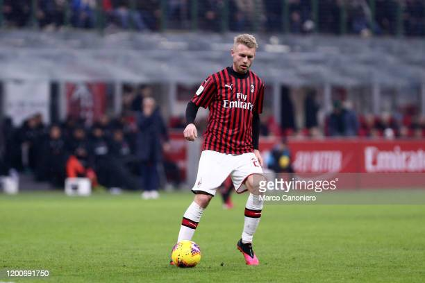 Simon Kjaer of Ac Milan in action during the Coppa Italia semi-final first leg match between Ac Milan and Juventus Fc. The match end in a tie 1-1.