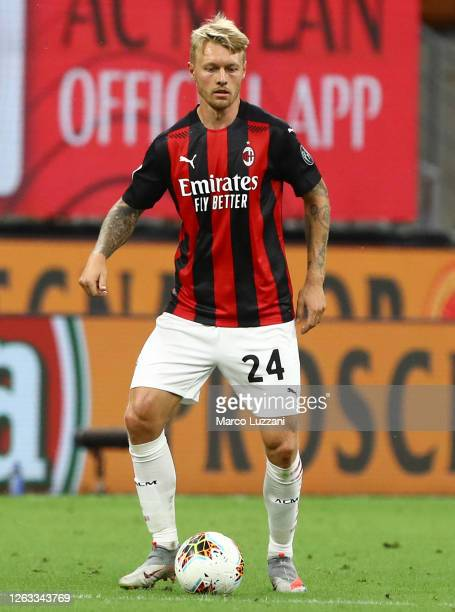 Simon Kjaer of AC Milan in action during the Serie A match between AC Milan and Cagliari Calcio at Stadio Giuseppe Meazza on August 01, 2020 in...