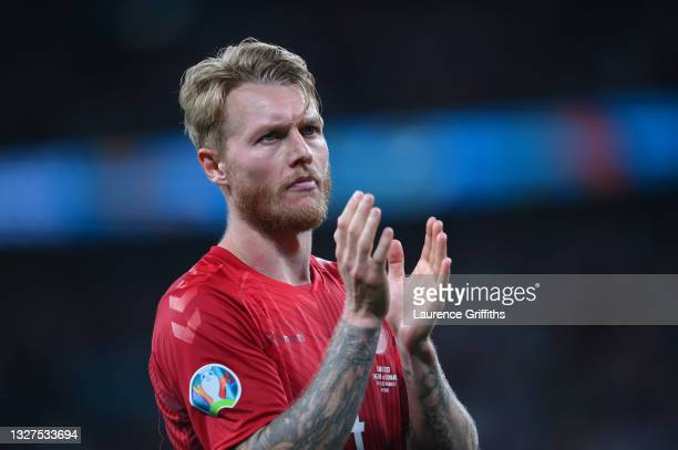 Simon Kjaer of Denmark applauds the fans following defeat in the UEFA Euro 2020 Championship Semi-final match between England and Denmark at Wembley...