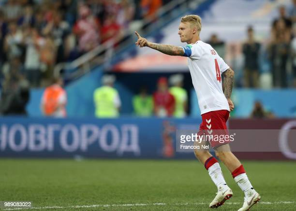 Simon Kjaer of Denmark celebrates scoring his team's second penalty in the penalty shoot out during the 2018 FIFA World Cup Russia Round of 16 match...