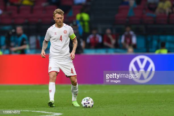 Simon Kjaer of Denmark controls the ball after the UEFA Euro 2020 Championship Round of 16 match between Wales and Denmark at Johan Cruijff Arena on...