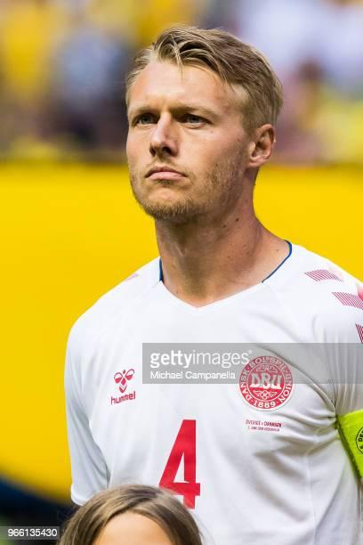 Simon Kjaer of Denmark during an international friendly match between Sweden and Denmark at Friends Arean on June 2 2018 in Stockholm Sweden