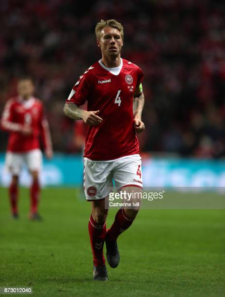 Simon Kjaer of Denmark during the FIFA 2018 World Cup Qualifier PlayOff First Leg between Denmark and Republic of Ireland at Telia Parken on November...