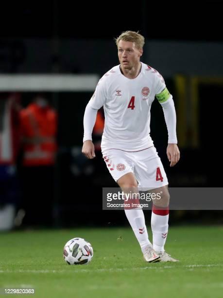Simon Kjaer of Denmark during the UEFA Nations league match between Belgium v Denmark at the King Baudouin Stadium on November 18, 2020 in Brussel...